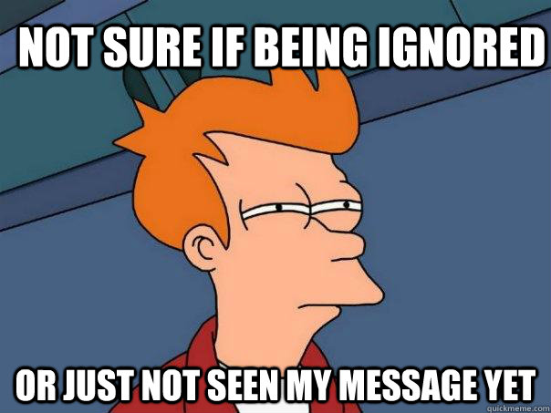 Not sure if being ignored Or just not seen my message yet - Not sure if being ignored Or just not seen my message yet  Futurama Fry