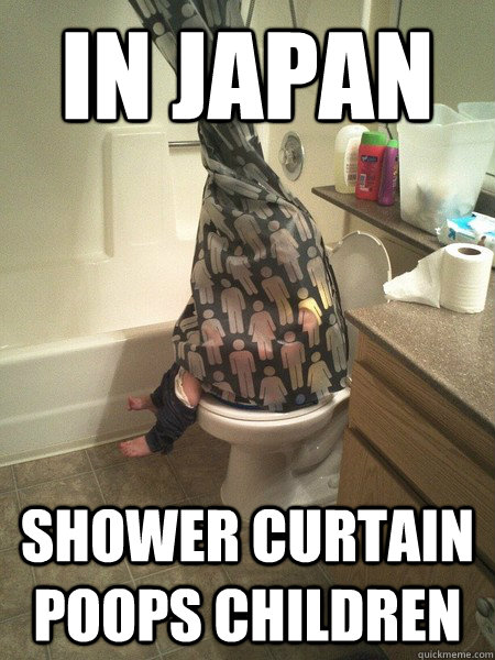 In Japan Shower Curtain Poops Children