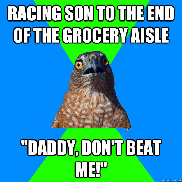 Racing son to the end of the grocery aisle
