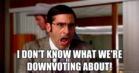 I don't know what we're downvoting about! - I don't know what we're downvoting about!  Brick Tamland Rioting