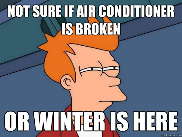 Not sure if air conditioner is broken or winter is here - Not sure if air conditioner is broken or winter is here  Futurama Fry