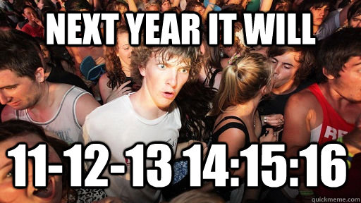 Next year it will 11-12-13 14:15:16  - Next year it will 11-12-13 14:15:16   Sudden Clarity Clarence