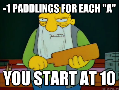 -1 paddlings for each