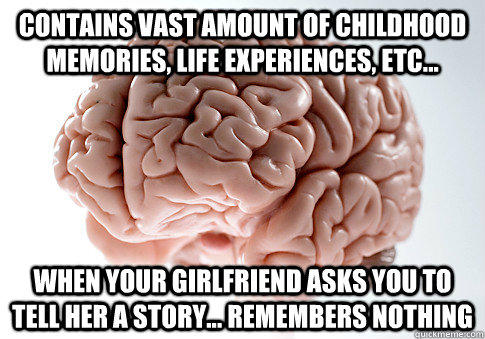 Contains vast amount of childhood memories, life experiences, etc... When your girlfriend asks you to tell her a story... Remembers nothing - Contains vast amount of childhood memories, life experiences, etc... When your girlfriend asks you to tell her a story... Remembers nothing  Scumbag Brain