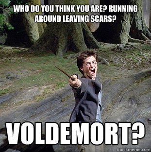 Who do you think you are? Running around leaving scars? Voldemort? - Who do you think you are? Running around leaving scars? Voldemort?  Pissed off Harry