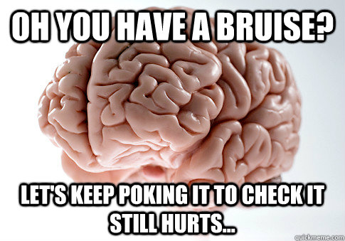 Oh you have a bruise? Let's keep poking it to check it still hurts...  Scumbag Brain