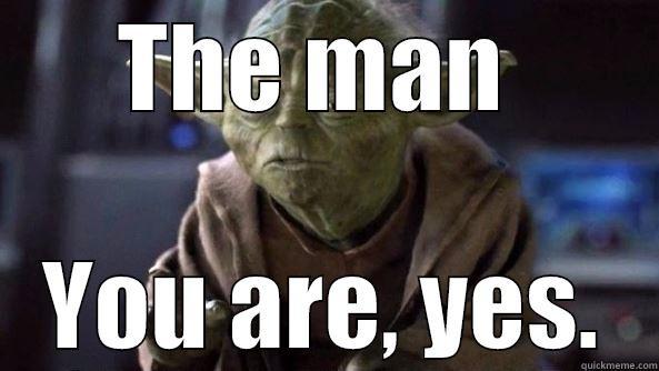 you da man - THE MAN  YOU ARE, YES. True dat, Yoda.