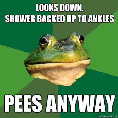 Looks down.  Shower backed up to ankles Pees anyway - Looks down.  Shower backed up to ankles Pees anyway  Foul Bachelor Frog