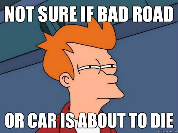 Not sure if bad road Or car is about to die - Not sure if bad road Or car is about to die  Futurama Fry