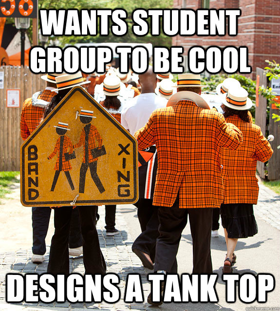 Wants student group to be cool designs a tank top