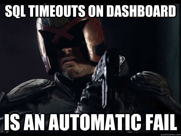 SQL Timeouts on dashboard is an automatic fail - SQL Timeouts on dashboard is an automatic fail  Judge Dredd
