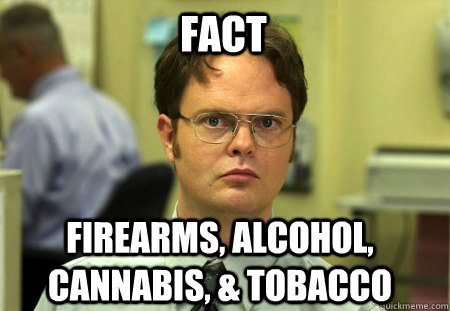 Fact Firearms, Alcohol, Cannabis, & Tobacco - Fact Firearms, Alcohol, Cannabis, & Tobacco  Schrute
