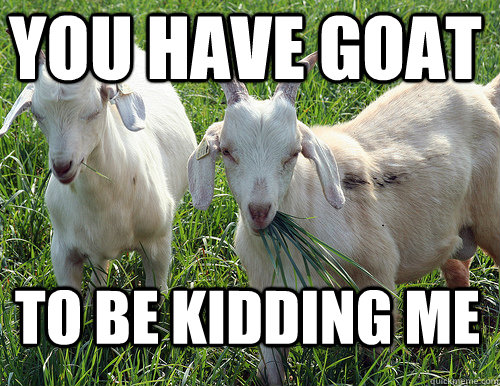 Image result for you're seriously kidding goat meme