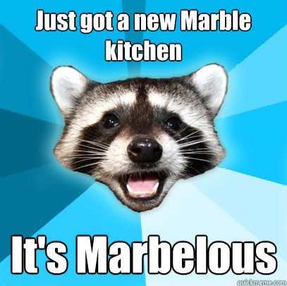 Just got a new Marble kitchen It's Marbelous - Just got a new Marble kitchen It's Marbelous  Lame Pun Coon