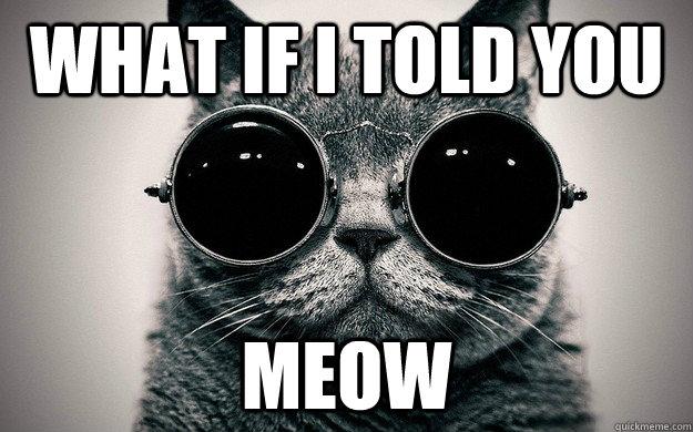 388efe75f47acabc7662f2b831b62618cfa0cc456ce7d46c24ab726650fdb3ad what if i told you meow morpheus cat facts quickmeme,Meow Meme