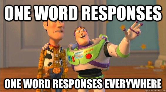 one word responses one word responses everywhere  lambdas everywhere