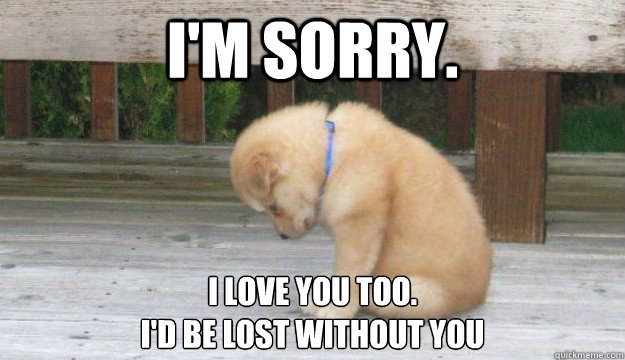 I'm sorry. I love you too. I'd be lost without you