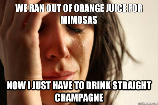 We ran out of Orange Juice for Mimosas Now I just have to drink straight Champagne - We ran out of Orange Juice for Mimosas Now I just have to drink straight Champagne  First World Problems