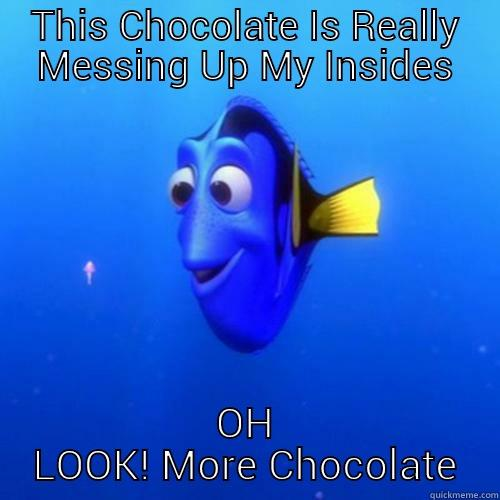 chocolate meme - THIS CHOCOLATE IS REALLY MESSING UP MY INSIDES OH LOOK! MORE CHOCOLATE dory
