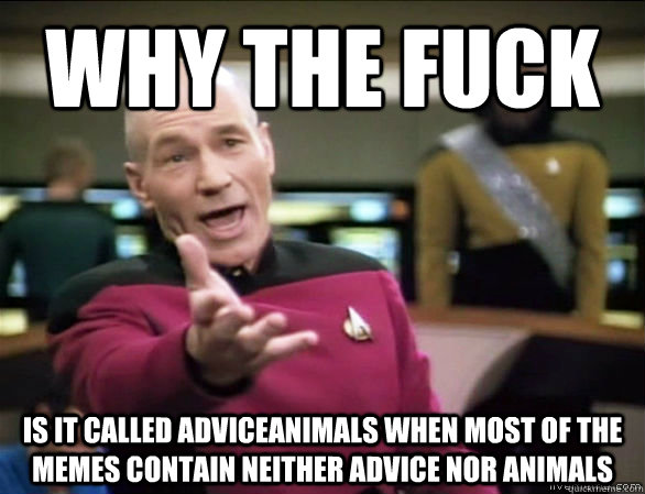 Why the fuck is it called adviceanimals when most of the memes contain neither advice nor animals - Why the fuck is it called adviceanimals when most of the memes contain neither advice nor animals  Annoyed Picard HD