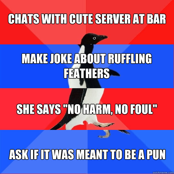 Chats with cute server at bar  Make joke about ruffling feathers She says