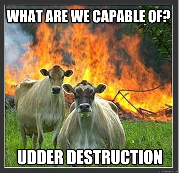 What are we capable of? Udder destruction - What are we capable of? Udder destruction  Evil cows