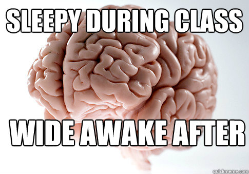 sleepy during class wide awake after  - sleepy during class wide awake after   Scumbag Brain