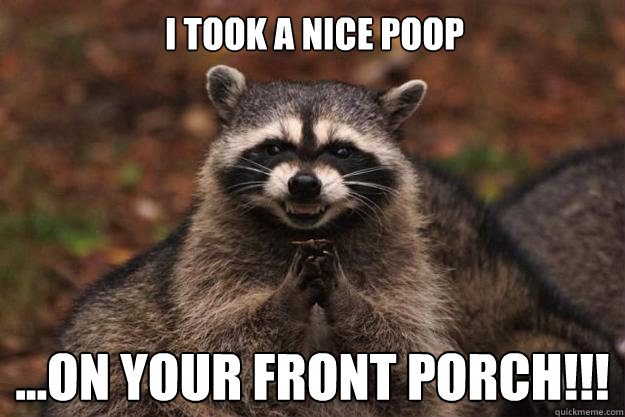 39463196ef832d6ba3897cd8d0831833a2220482becb615674ac195c0be5a45d i took a nice poop on your front porch!!! evil plotting