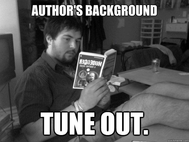 Author's background Tune out.
