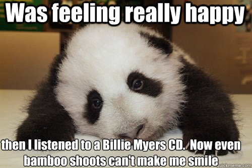 Was feeling really happy then I listened to a Billie Myers CD.  Now even bamboo shoots can't make me smile  Depressed Panda