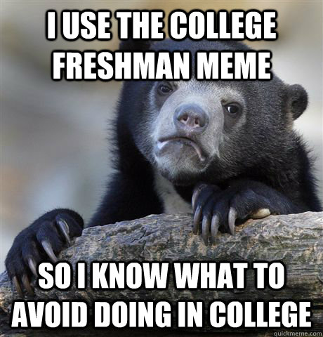 I use the College Freshman meme so i know what to avoid doing in college - I use the College Freshman meme so i know what to avoid doing in college  Confession Bear