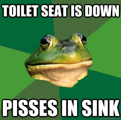 Toilet Seat is down Pisses in sink - Toilet Seat is down Pisses in sink  Foul Bachelor Frog