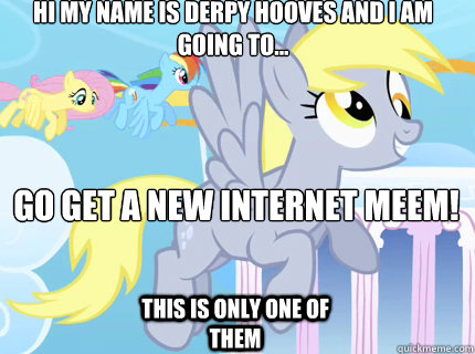 Hi my name is Derpy Hooves and i am going to... GO GET A NEW INTERNET MEEM!  This is only one of them