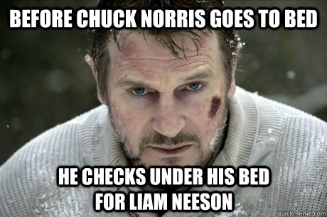 before chuck norris goes to bed he checks under his bed for liam neeson - before chuck norris goes to bed he checks under his bed for liam neeson  Misc