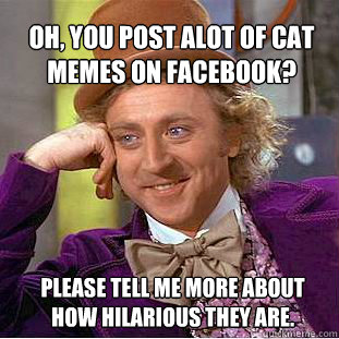 Oh, you post alot of cat memes on facebook? please tell me more about how hilarious they are.