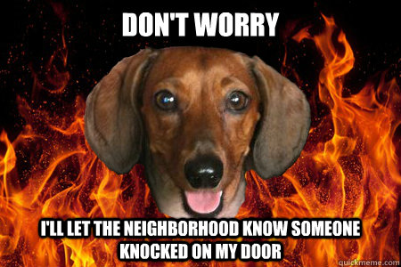 Don't worry I'll let the neighborhood know someone knocked on my door - Don't worry I'll let the neighborhood know someone knocked on my door  Demonic Dachshund