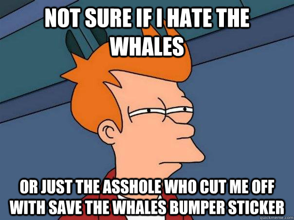 Not sure if i hate the whales or just the asshole who cut me off with save the whales bumper sticker - Not sure if i hate the whales or just the asshole who cut me off with save the whales bumper sticker  Futurama Fry