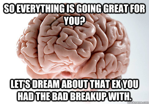 So everything is going great for you? Let's dream about that ex you had the bad breakup with. - So everything is going great for you? Let's dream about that ex you had the bad breakup with.  Scumbag Brain