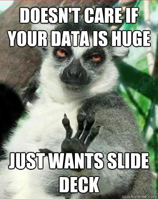 Doesn't Care if your data is huge Just wants slide deck
