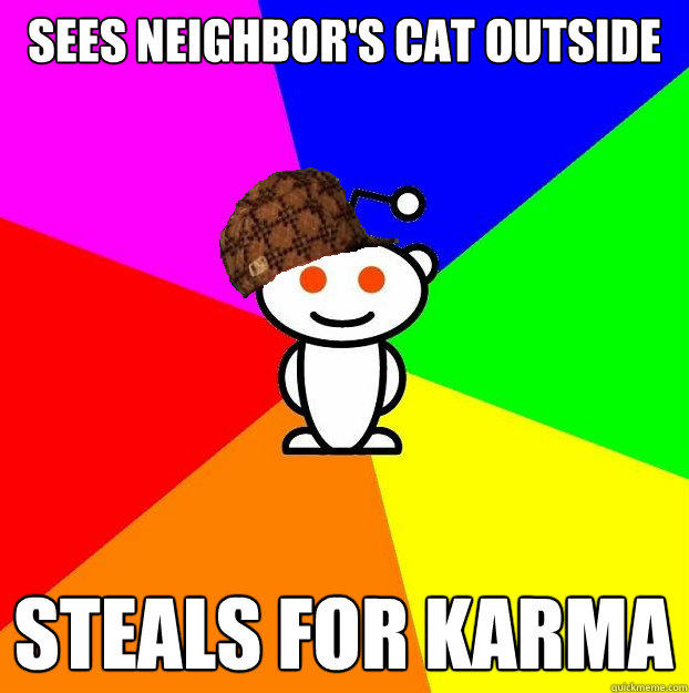 sees neighbor's cat outside steals for karma - sees neighbor's cat outside steals for karma  Scumbag Redditor