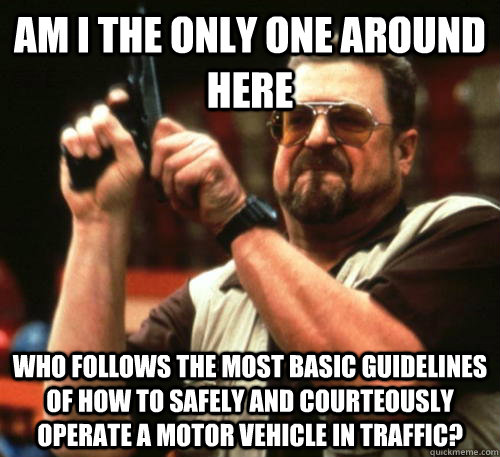 Am i the only one around here who follows the most basic guidelines of how to safely and courteously operate a motor vehicle in traffic? - Am i the only one around here who follows the most basic guidelines of how to safely and courteously operate a motor vehicle in traffic?  Am I The Only One Around Here