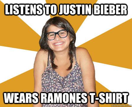 Listens to Justin Bieber Wears Ramones T-shirt