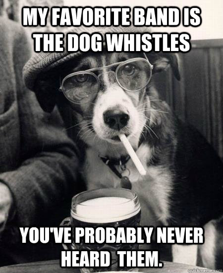My favorite band is The Dog Whistles You've probably never heard  them.  Hipster Dog