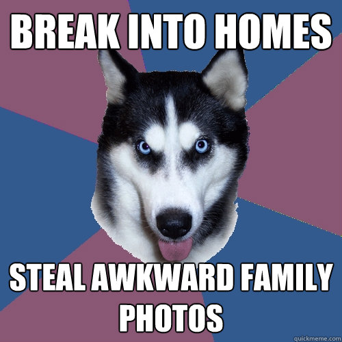 Break into homes Steal awkward family photos - Break into homes Steal awkward family photos  Creeper Canine