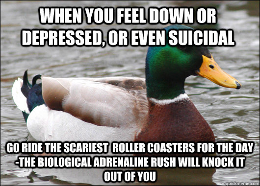 When you feel down or depressed, or even suicidal go ride the scariest  roller coasters for the day -the biological adrenaline rush will knock it out of you - When you feel down or depressed, or even suicidal go ride the scariest  roller coasters for the day -the biological adrenaline rush will knock it out of you  Actual Advice Mallard