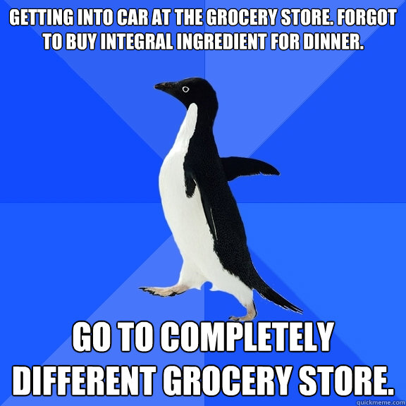 Getting into car at the grocery store. Forgot to buy integral ingredient for dinner. Go to completely different grocery store.  - Getting into car at the grocery store. Forgot to buy integral ingredient for dinner. Go to completely different grocery store.   Socially Awkward Penguin