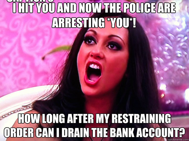 I hit you and now the police are arresting *YOU*! How long after my restraining order can I drain the bank account? Caption 3 goes here - I hit you and now the police are arresting *YOU*! How long after my restraining order can I drain the bank account? Caption 3 goes here  Feminist Nazi
