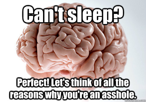 Can't sleep? Perfect! Let's think of all the reasons why you're an asshole.   - Can't sleep? Perfect! Let's think of all the reasons why you're an asshole.    Scumbag Brain