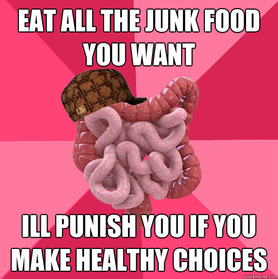 eat all the junk food you want ill punish you if you make healthy choices - eat all the junk food you want ill punish you if you make healthy choices  Scumbag Intestines