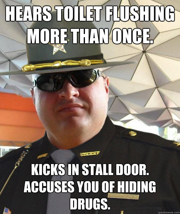 Hears toilet flushing more than once. Kicks in stall door.  Accuses you of hiding drugs.  Scumbag sheriff